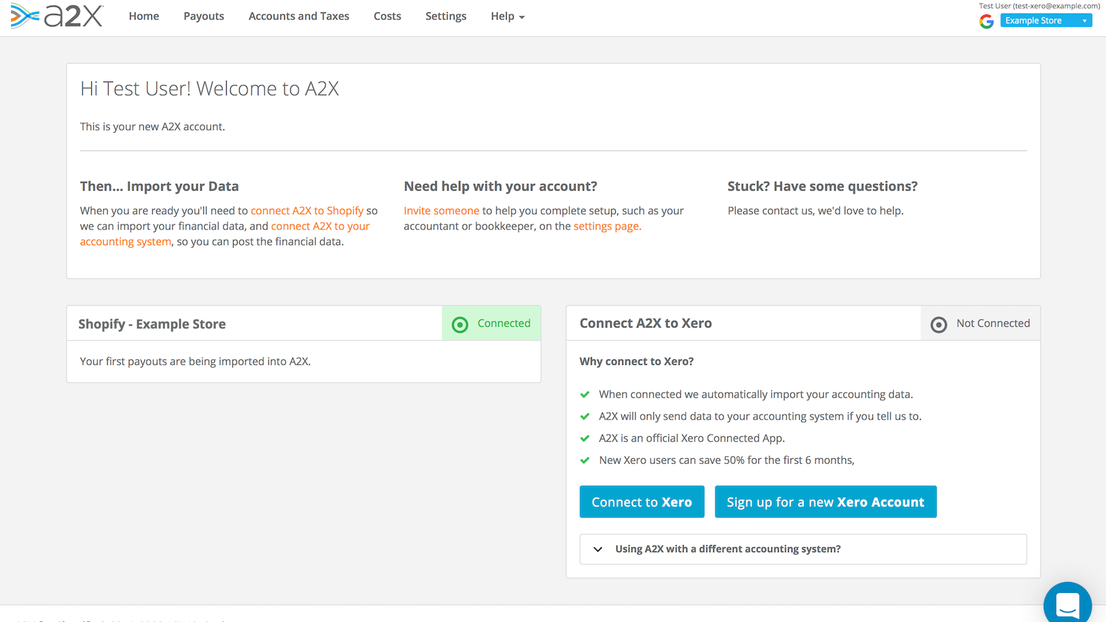 Quickly connect to an existing or new Xero account