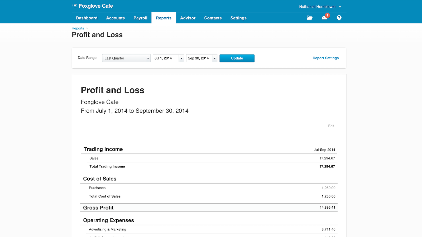 Detailed financial reporting with Xero