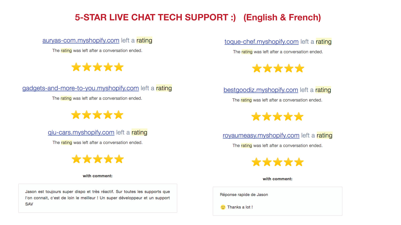 5 star live chat support