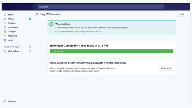 Progress bar with time to complete
