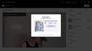 A checkout is started when users click the product in chat.