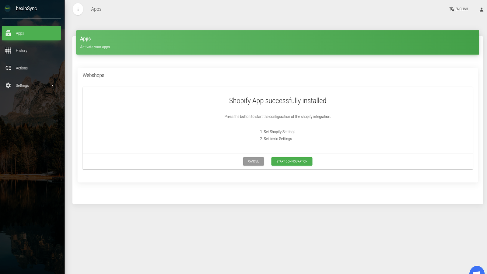 Shopify successful installed