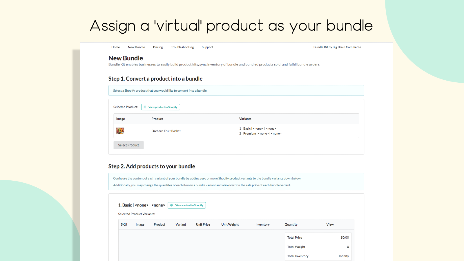 Assign a virtual product as your bundle