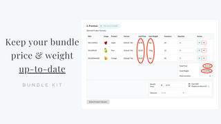 Keep your bundle price and weight up-to-date