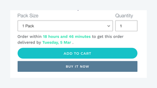 Order Delivery Deadline front end preview.