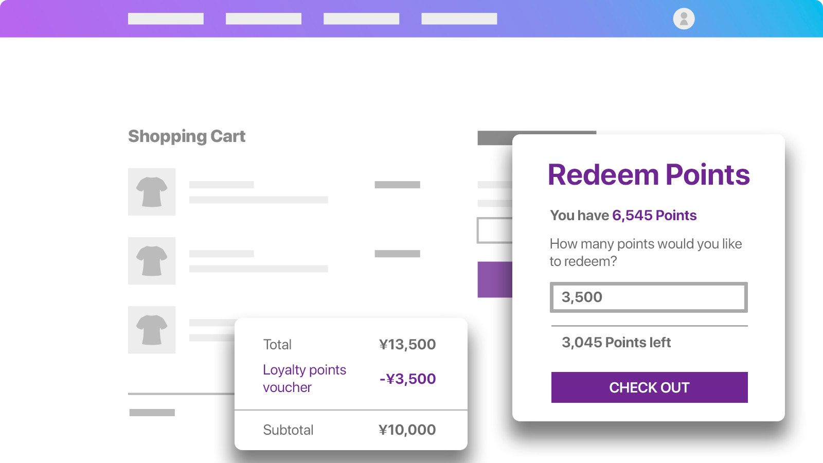 EasyPoints Cart Overview Page Example