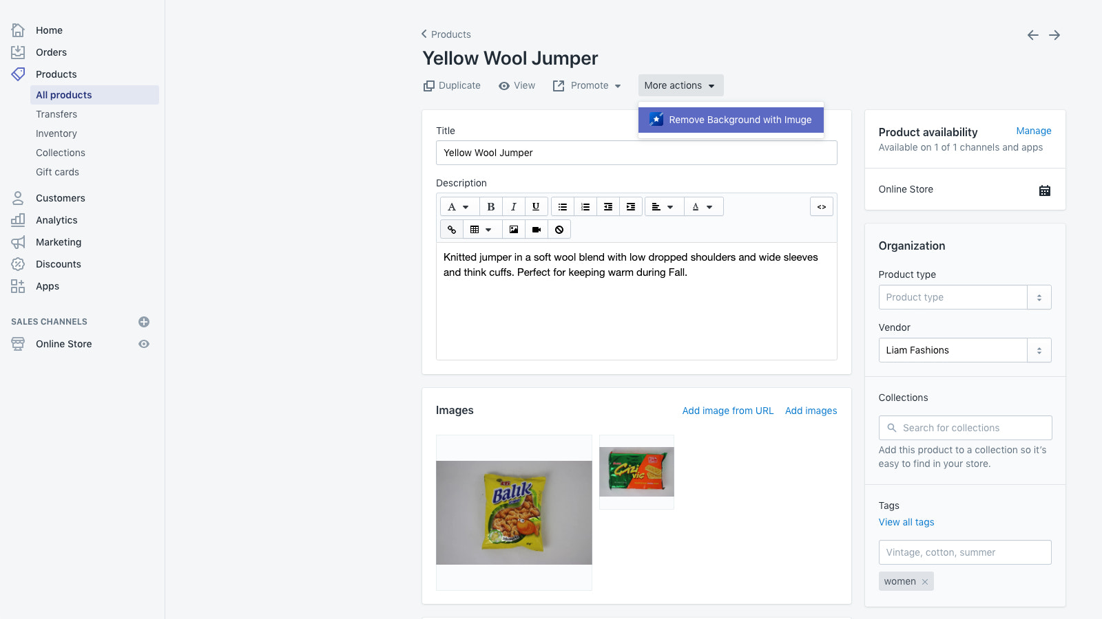 Integrates directly in product details as action menu entry