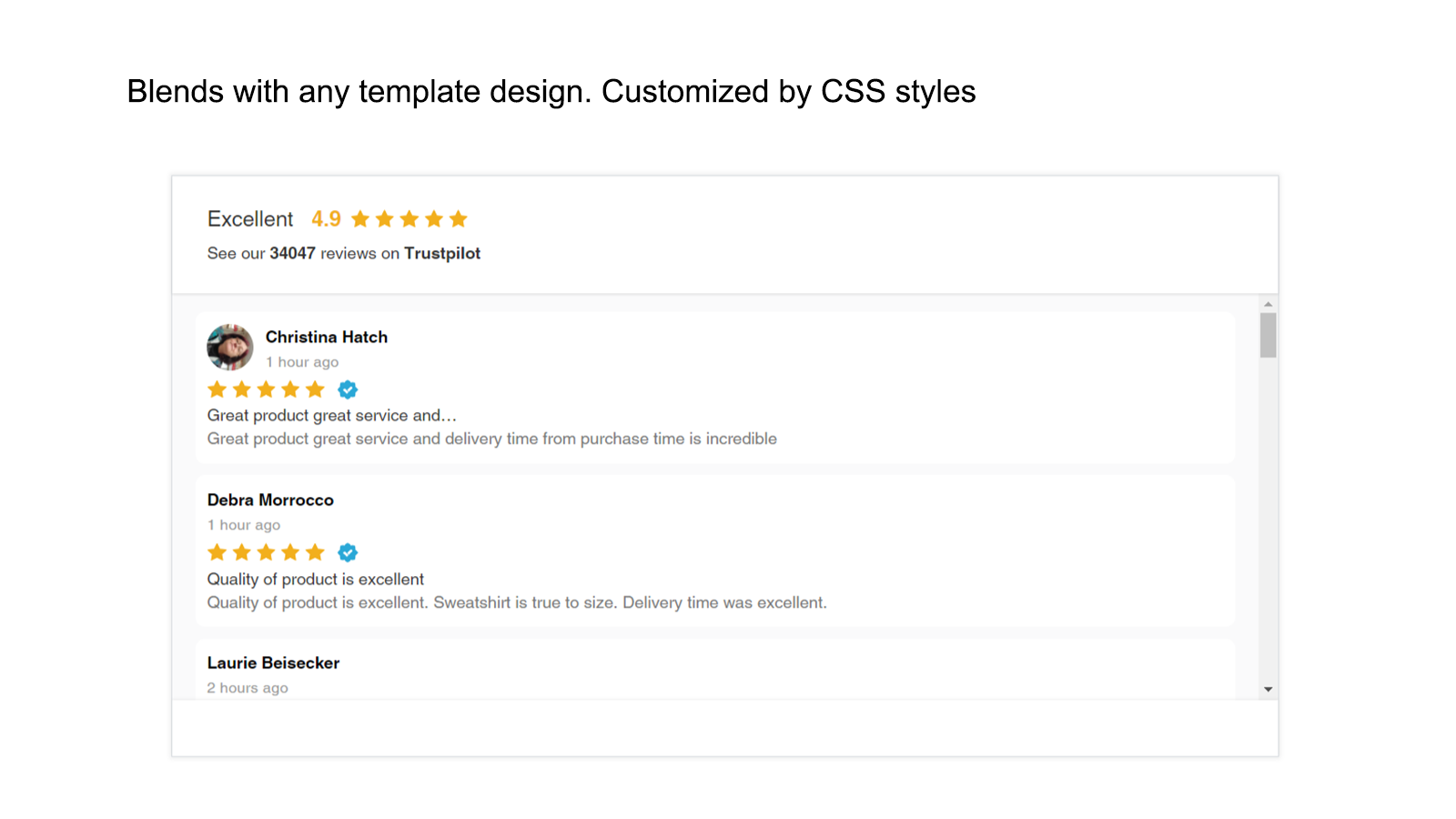 Shopify Trustpilot carousel widget with rating