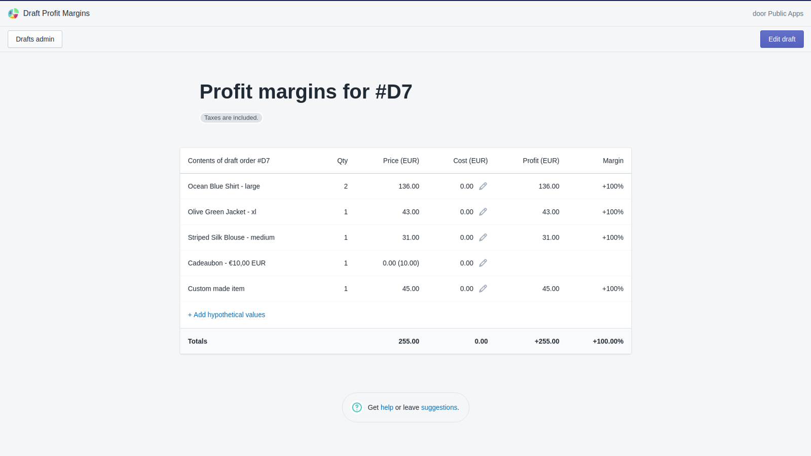 Main screen showing the profit margins table
