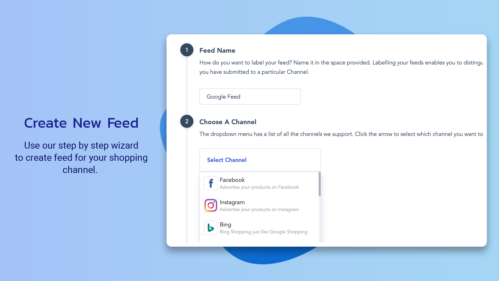 Create new Product Feed