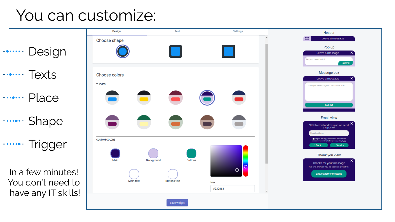 Design page of creator as an example how to personalize pop up