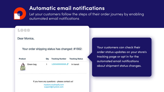 Order delivery update notification