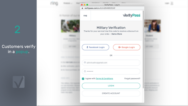 Customers verify in a popup