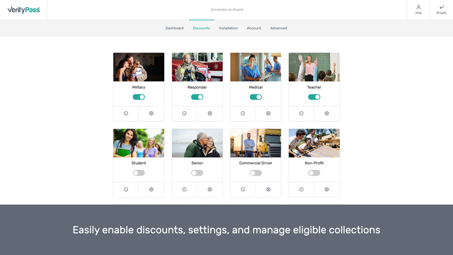 Easily enable discounts, settings, and manage collections