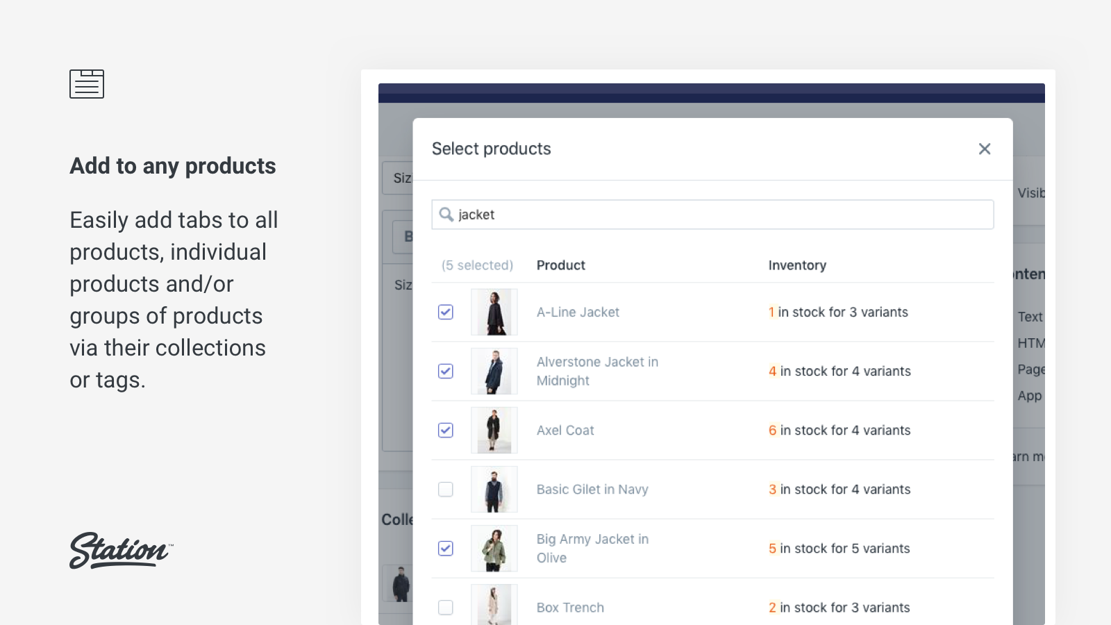 Easily assign tabs to products, product tags and collections