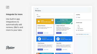 Use built-in app integrations for additional tab content