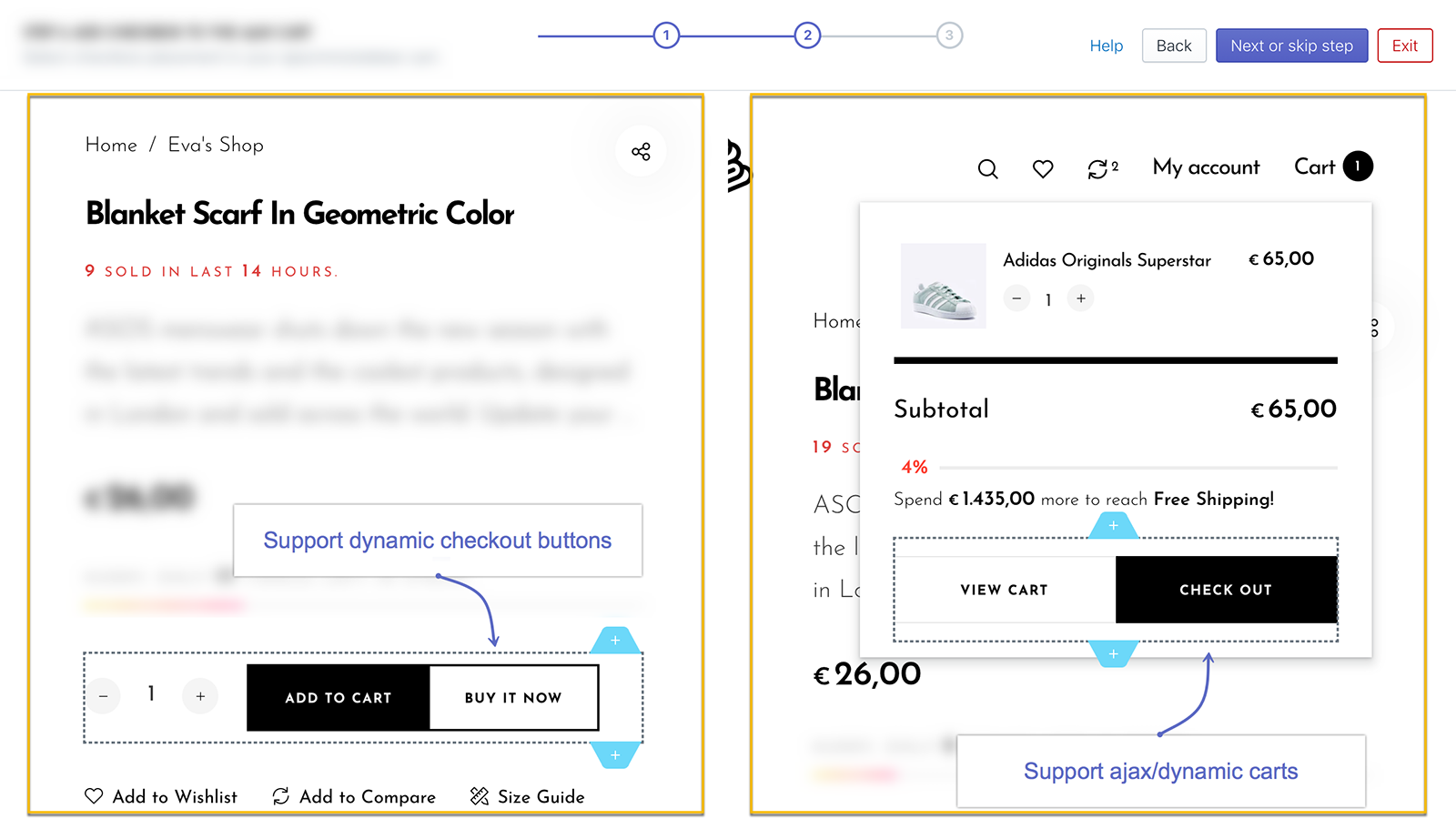 Support ajax/dynamic carts and dynamic checkout buttons