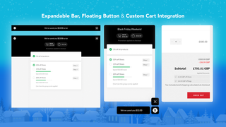 Top bar, floating button options and custom cart integration