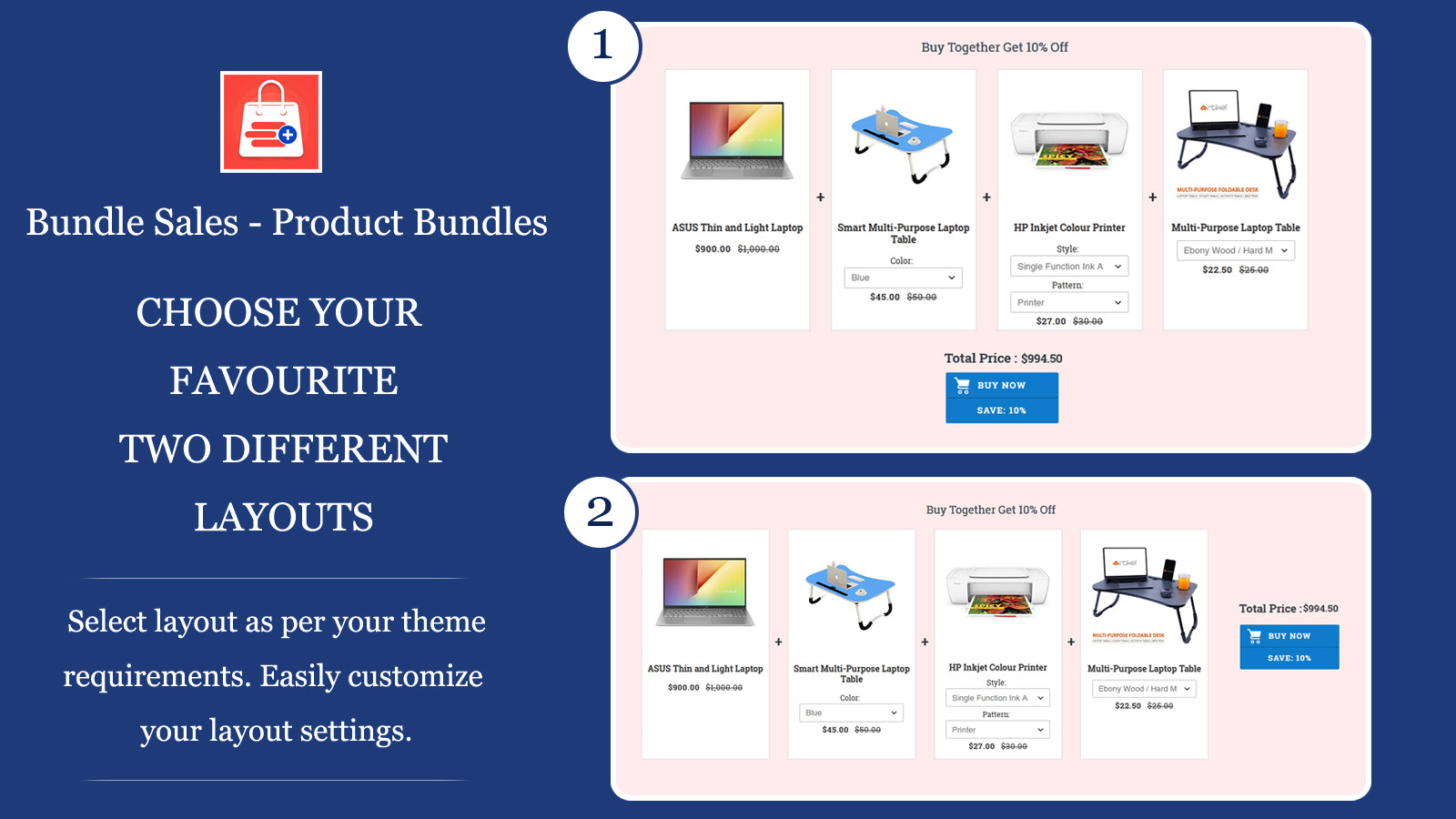 Customizable product bundle and discount