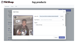 Tag products in TikTok video on Shopify. TikTok on Shopify.