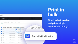 Bulk print PDFs from Shopify orders page
