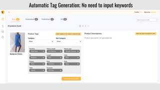 Automated product tags using AI. No need to input keywords