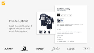 Shopify product options app, variant options, infinite options