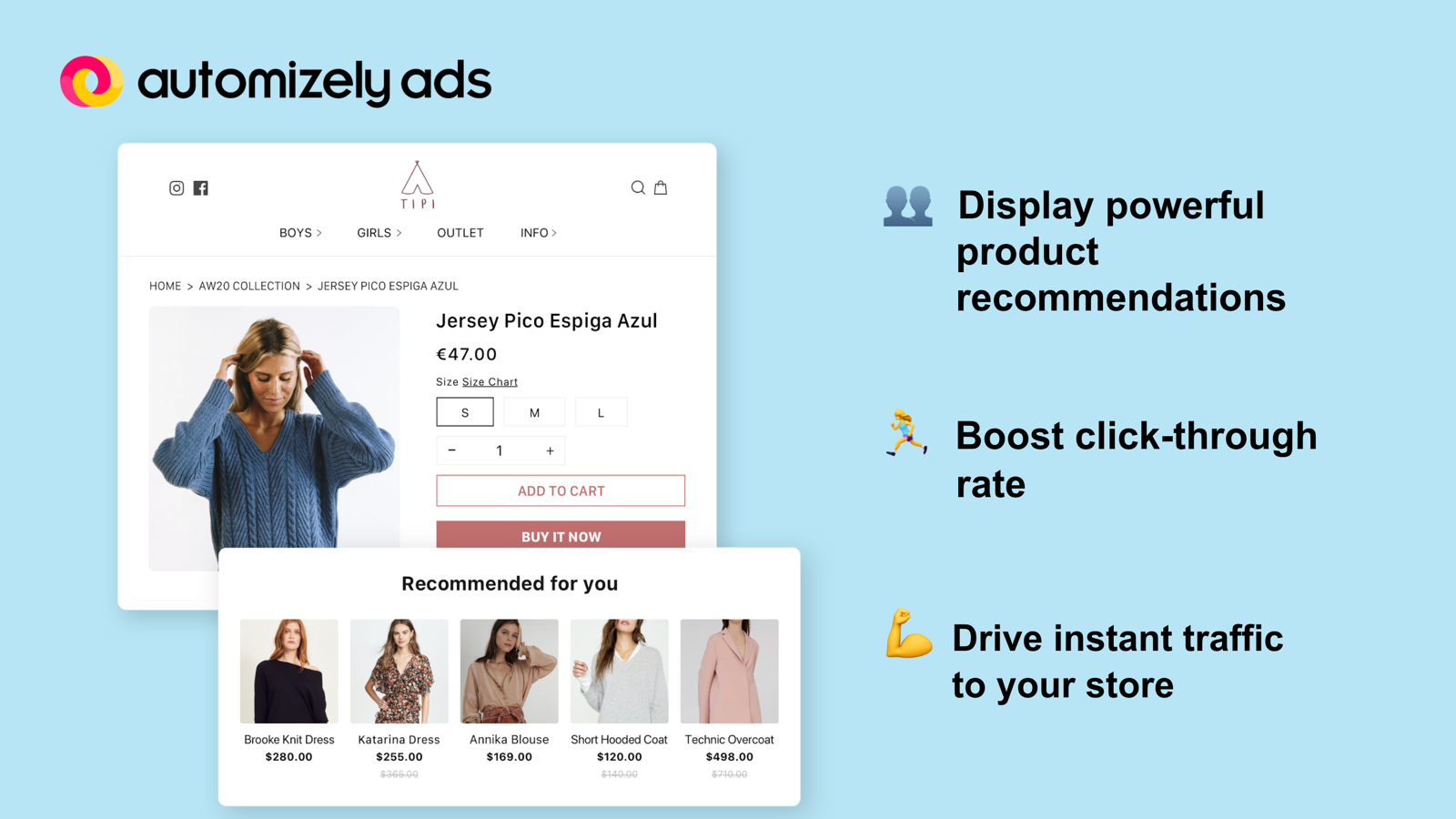 Display powerful product recommendations