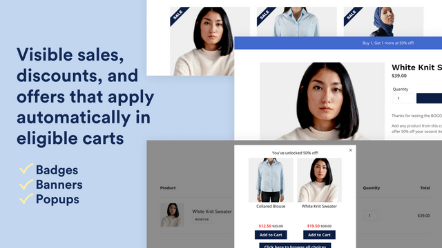 Visible sales, discounts, and offers that apply automatically