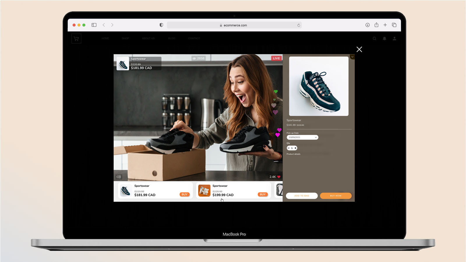 Live Shopping Desktop Embed View - Product Page