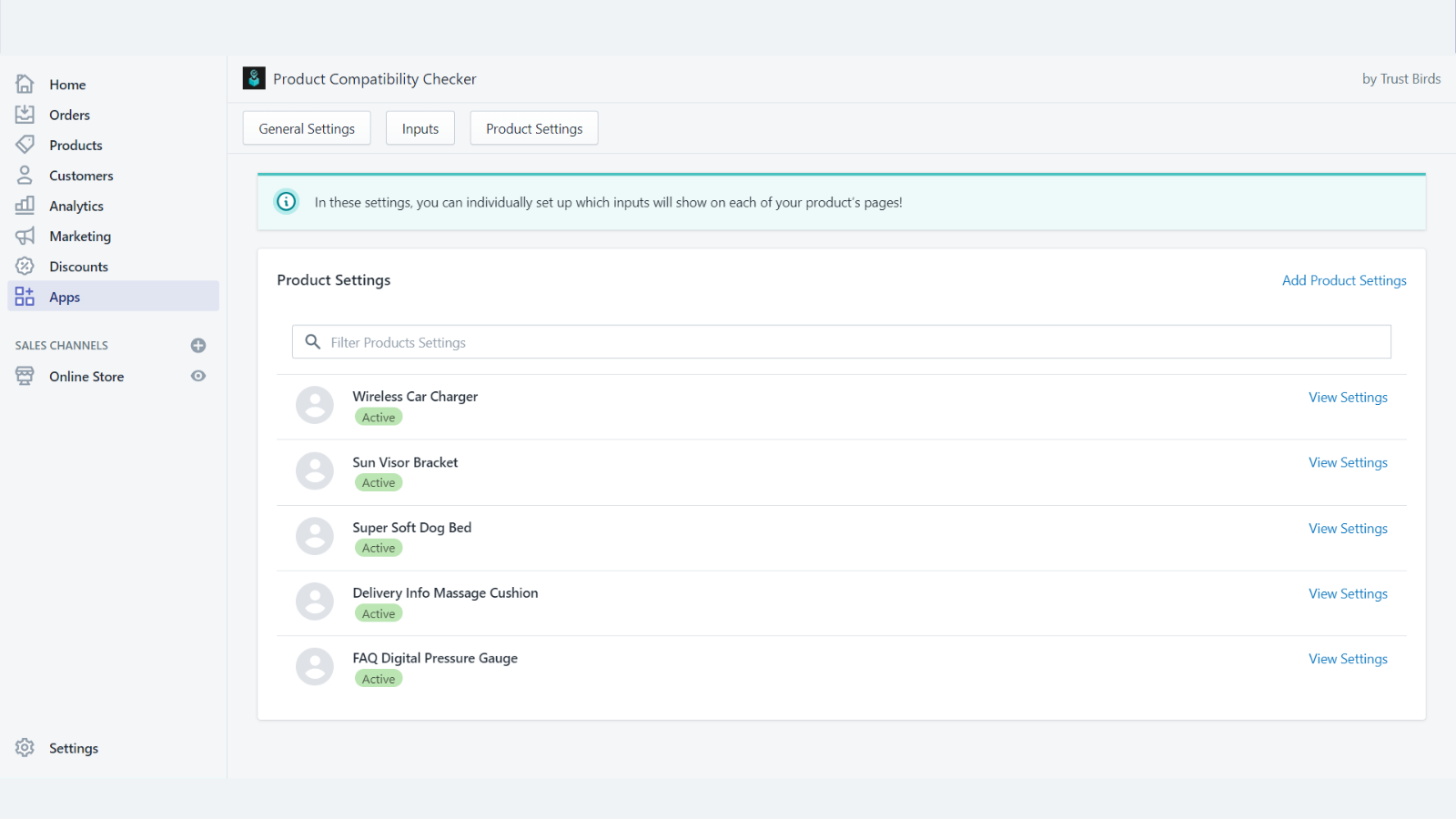 Product Compatibility Checker Product Settings Embedded