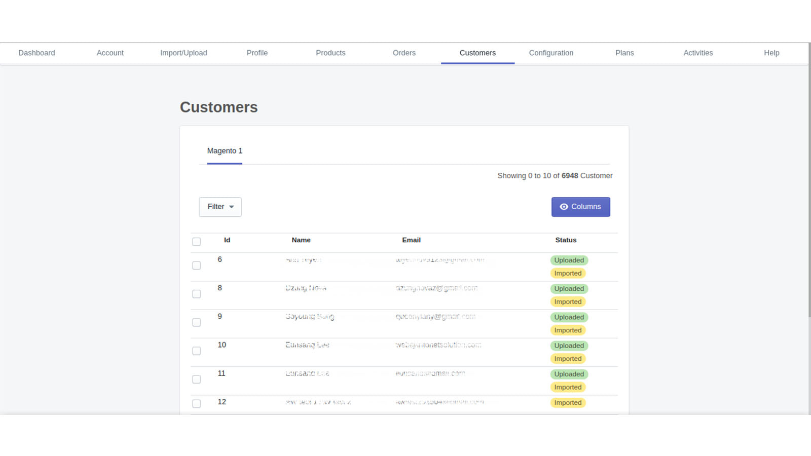 Customer Grid Magento1 to Shopify , Magento 2 to Shopify