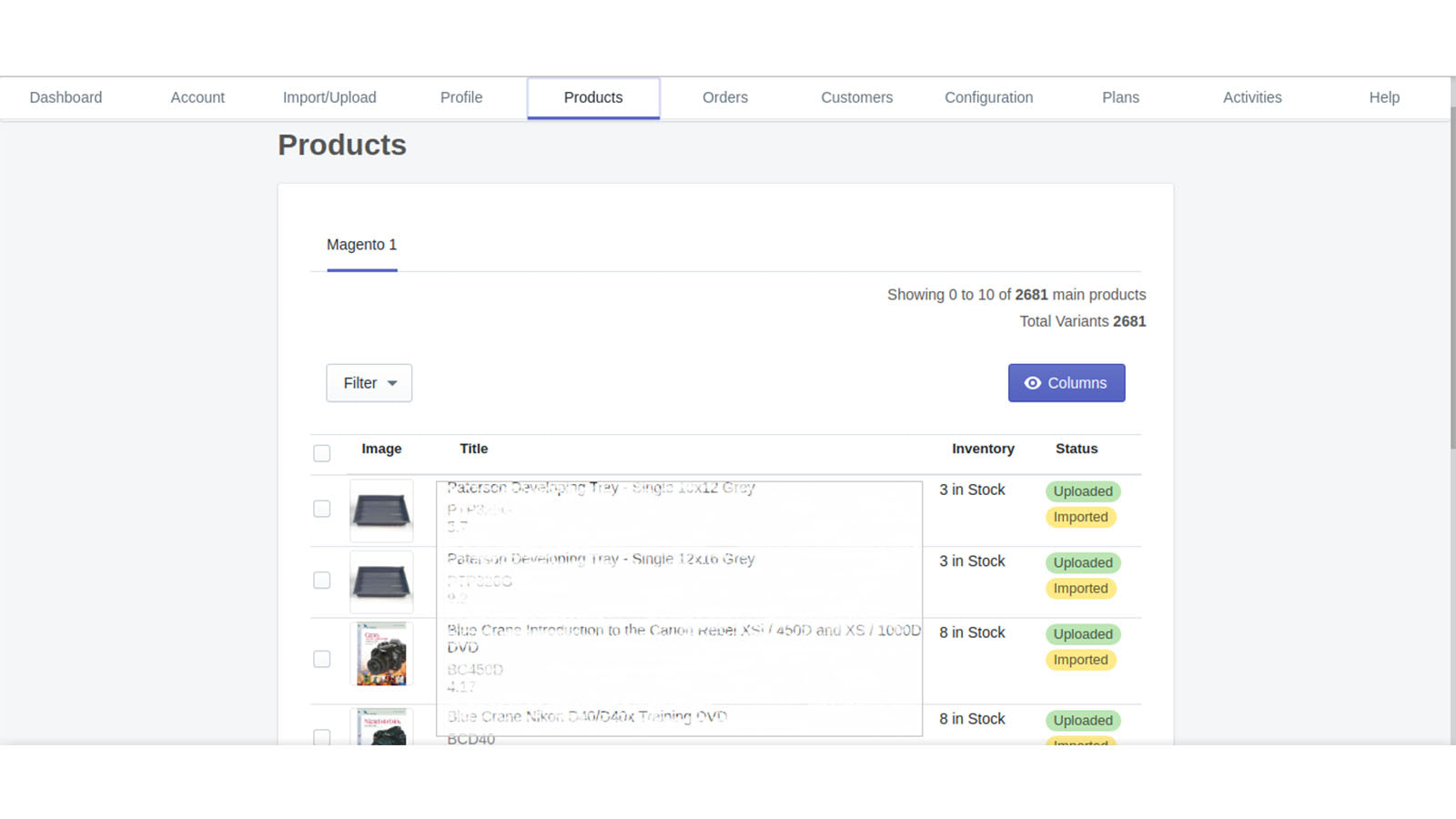 Product Grid Magento1 to Shopify , Magento 2 to Shopify
