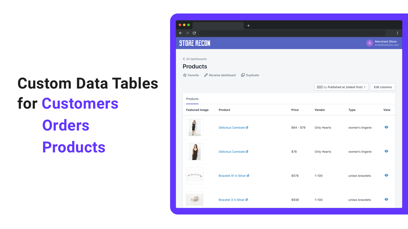 Create custom data tables for customers, orders, and products