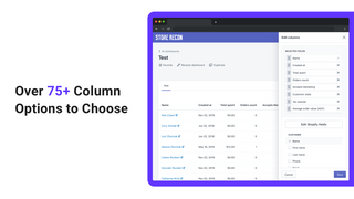 75+ column options to choose from