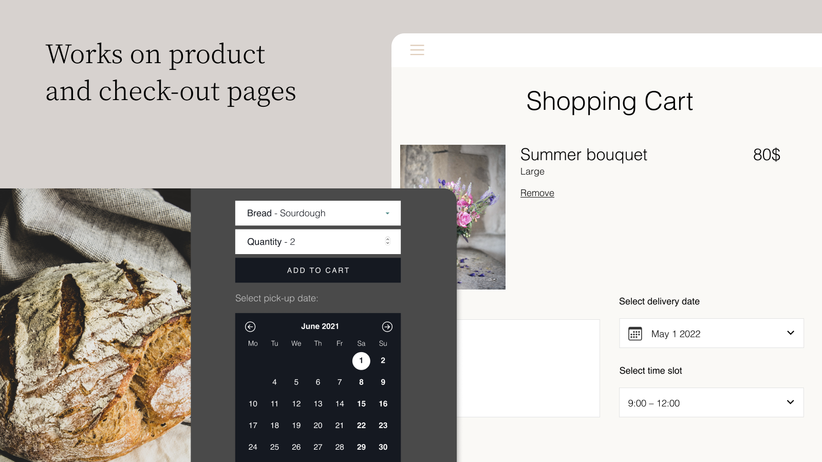Works on product and check-out pages