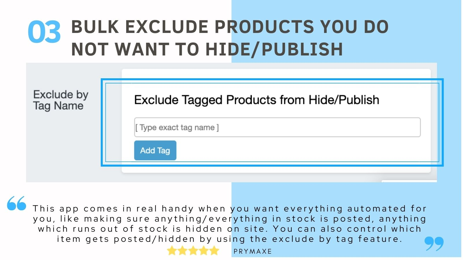 Bulk exclude products you want the app to ignore shopify app