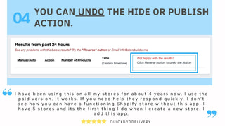 Can undo the hide or publish action within 24 hours  shopify app