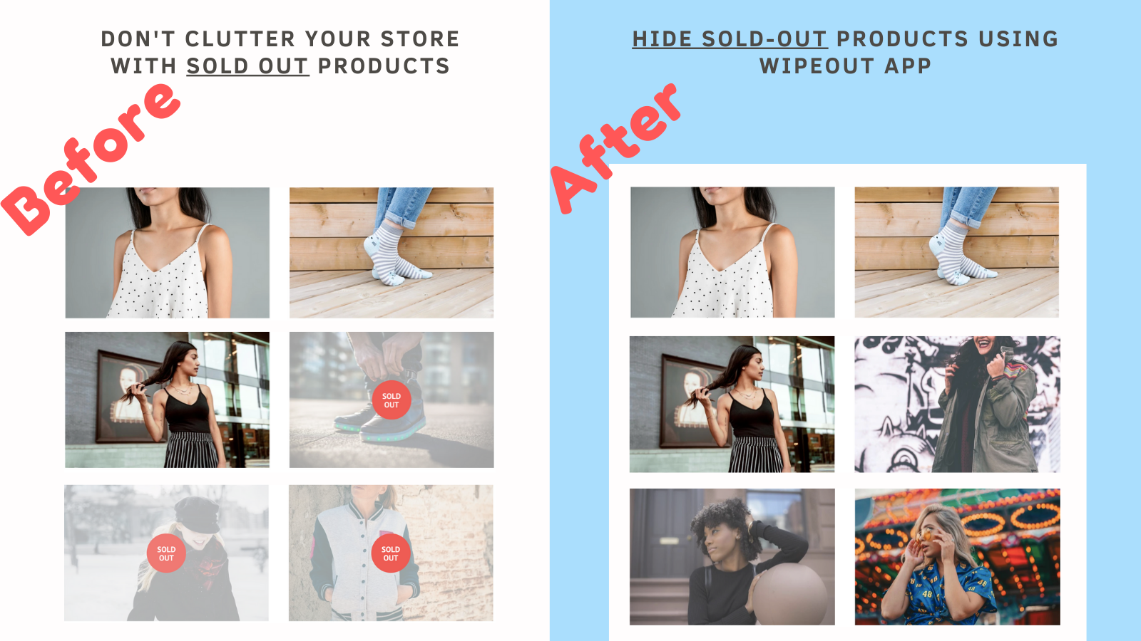Hide sold out products using wipeout shopify app