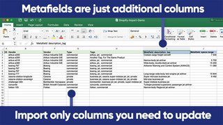 Import only columns you need to update. Metafields are columns.