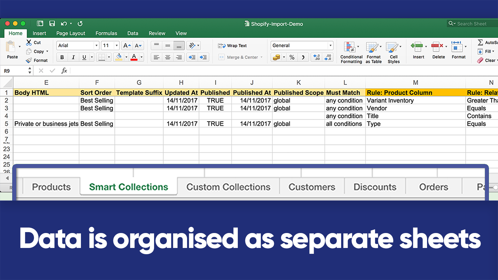 All data is here as separate Excel sheets | Matrixify (Excelify)