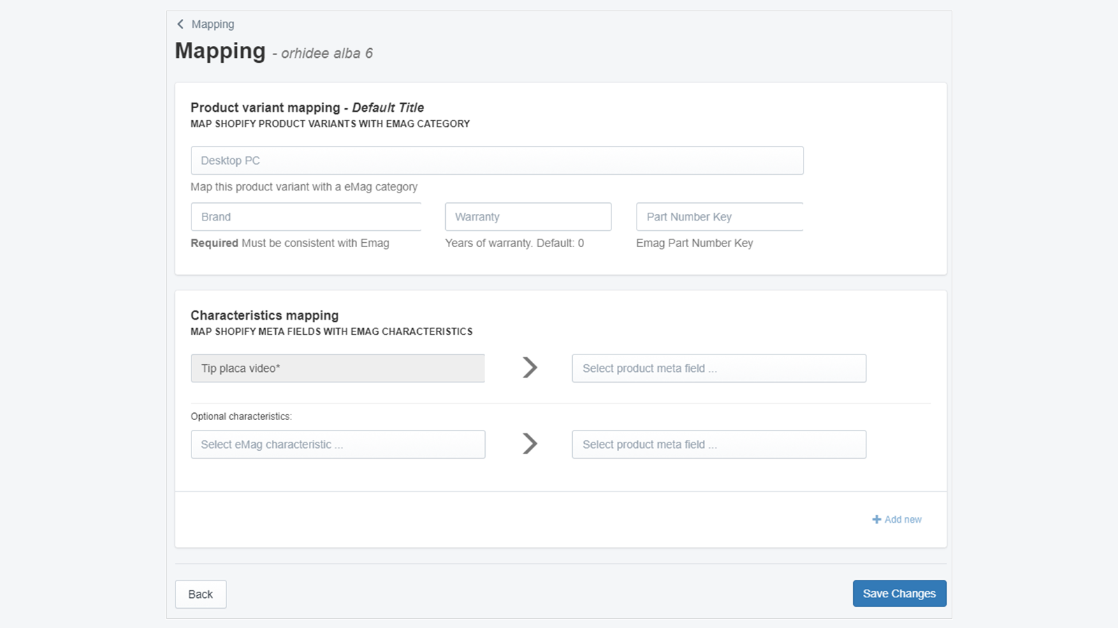 Map products characteristics with eMAG Marketplace attributes