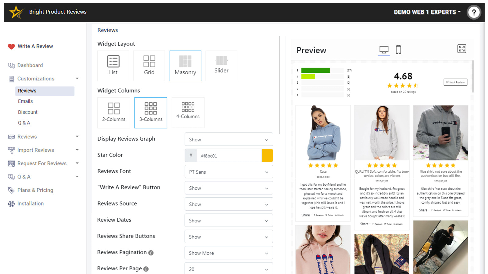 Bright Product Reviews - Reviews Customizations