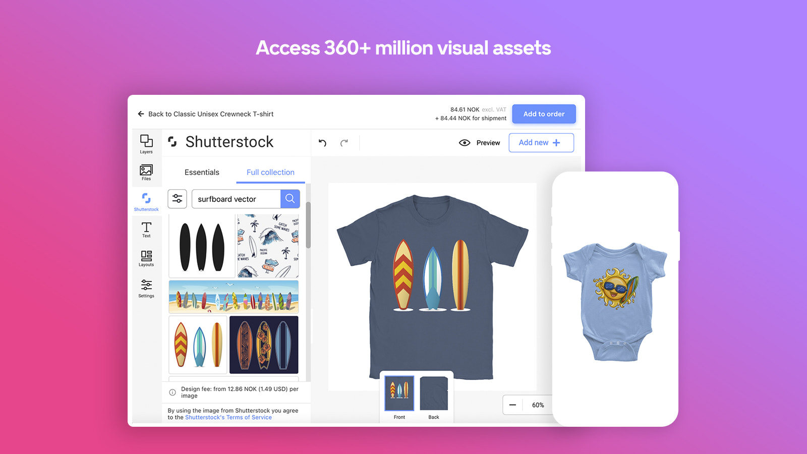Access 360+ million images in design editor