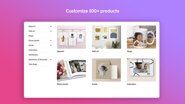 Broad range of products easily personalized by your customer.