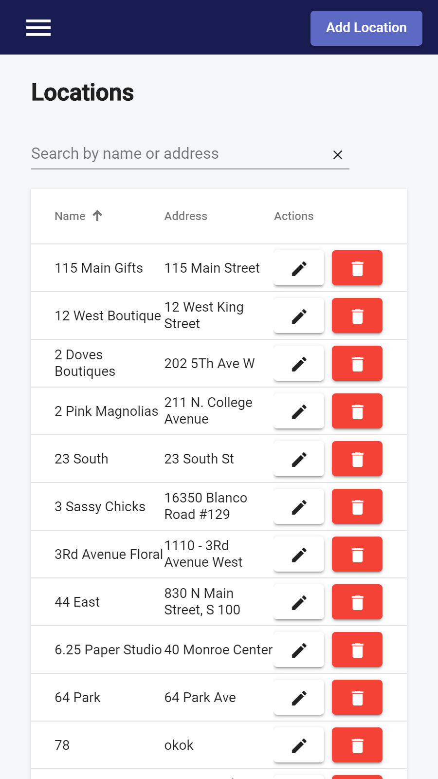 Admin location list on mobile device | Store Locator | W3Trends
