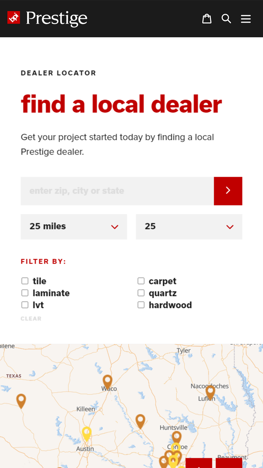 Mobile view of searching store locator | Store Locator | W3