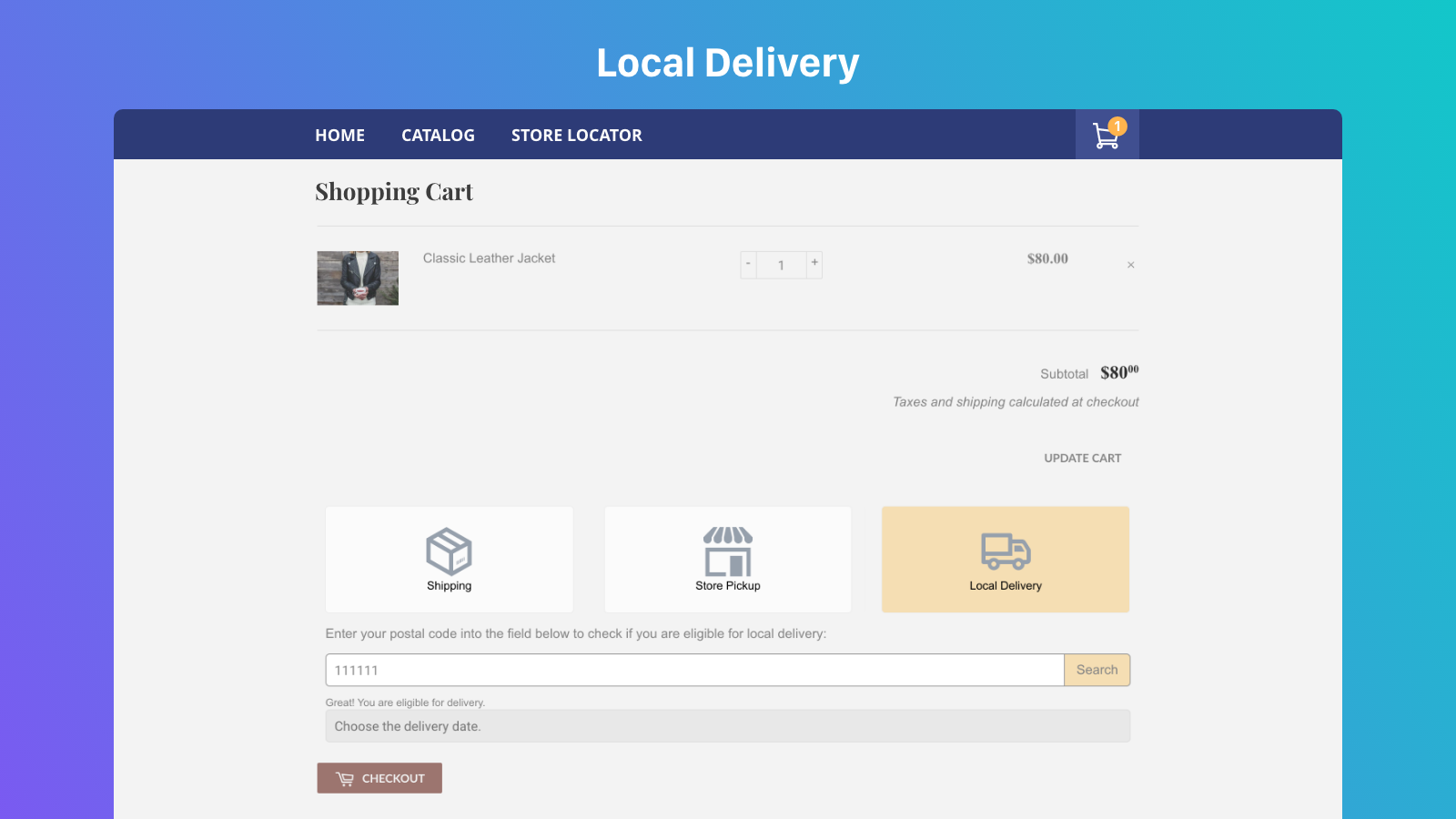 Local delivery in cart page
