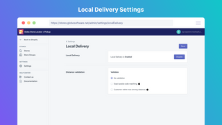Settings of Local delivery in Backend