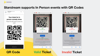 Starstream supports In Person events with QR Codes